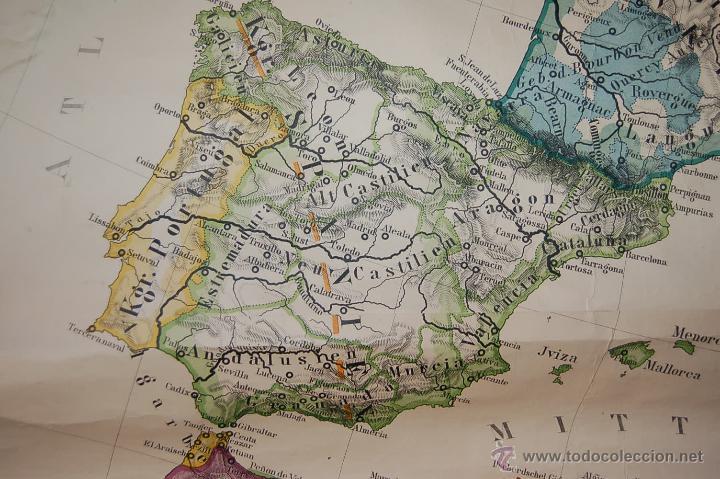 Carteles: ANTIGUO CARTEL, MAPA MURAL ALEMÁN DE GRAN TAMAÑO. EUROPA EN EL SIGLO XVI - Foto 5 - 52712121