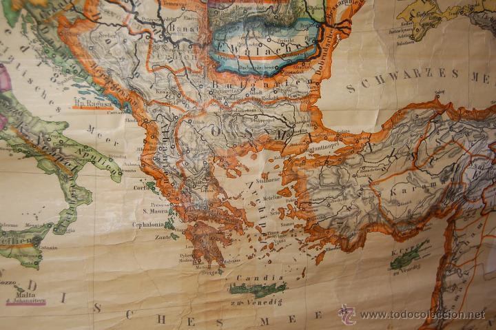 Carteles: ANTIGUO CARTEL, MAPA MURAL ALEMÁN DE GRAN TAMAÑO. EUROPA EN EL SIGLO XVI - Foto 8 - 52712121