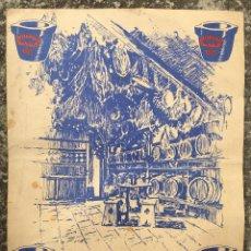 Carteles: MENU MINUTA RESTAURANTE LOS CARACOLES CASA BOFARULL TIPICO BARCELONA DISEÑO HERREROS 47. Lote 53234928