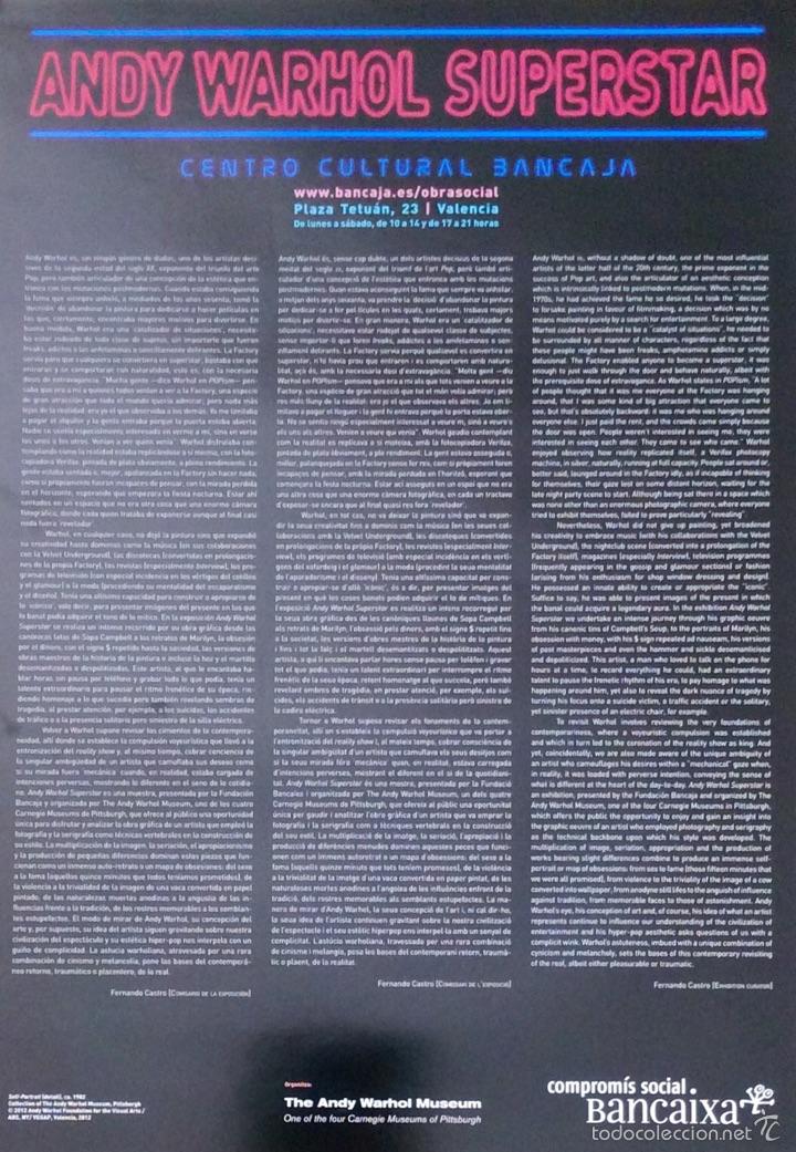 Carteles: Envío 8€ Cartel litográfico exposición ANDY WARHOL SUPERESTAR 60x42cm - Foto 3 - 208988722