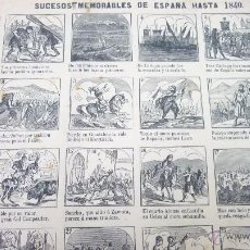 Carteles: AUCA 44 X 32 CTMS. SUCESOS MEMORABLES DE ESPAÑA HASTA 1840. ORIGINAL. AÑO 1870. Lote 54765203