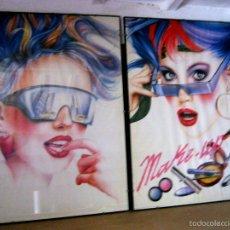 Carteles: XXL 99 CM PAREJA POSTER POP ART PATRIGNANI MILANO 80´S MODA GAFAS PELUQUERIA MAQUILLAJE -ENMARCADOS. Lote 56689064