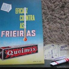 Carteles: PORTUGAL LABORATORIOS - CARTEL DE PARED Y SOBREMESA 38X27 CM EN CARTON ' QUEIMAX ' 1969 + INFO. Lote 56877877