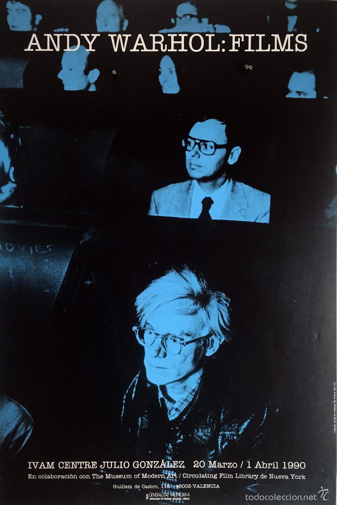 POSTER, CARTEL ANDY WARHOL FILMS 45 X 68 CM, EDITADO EN 1990 (Coleccionismo - Carteles Gran Formato - Carteles Varios)