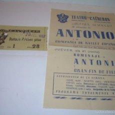 Carteles: TEATRO CALDERON...ANTONIO COMPAÑIA DE BALLET ESPAÑOL....AÑO 1.957. Lote 57163351