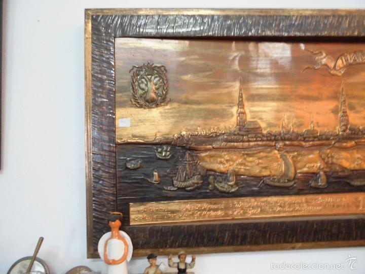 Carteles: Precioso cartel de cobre en relieve de la ciudad de Hamburgo - Foto 4 - 57202940