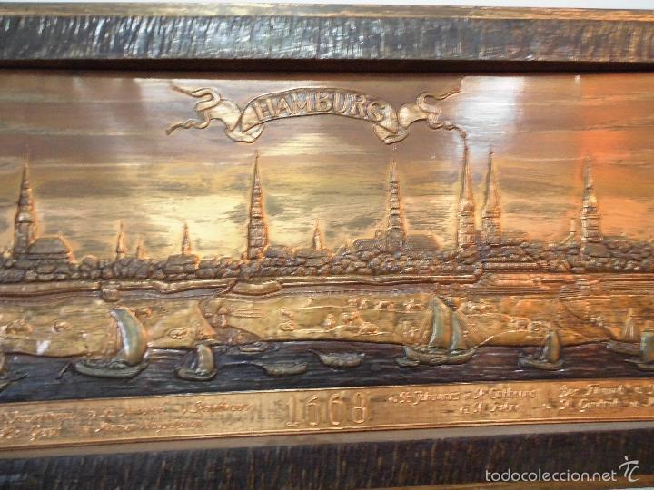 Carteles: Precioso cartel de cobre en relieve de la ciudad de Hamburgo - Foto 5 - 57202940