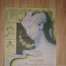 Carteles: RARO CARTEL DIPLOMA ORIGINAL HENRY COLOMER TITULO PELUQUERÍA BARCELONA 1957 LITOGRAFÍA COLECCIÓN. Lote 57482403