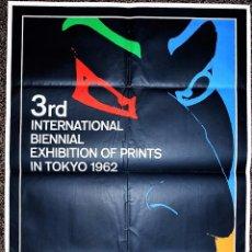 Carteles: 3RD. INTERNATIONAL BIENNAL EXHIBITION OF PRINTS IN TOKIO 1962. 1962 BY IKKO TANAKA. Lote 57945313