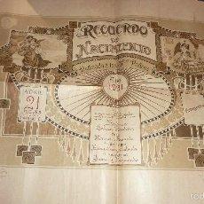 Carteles: ANTIGUA LAMINA RECUERDO DE NACIMIENTO 1921 . 50 / 40 CM CARTEL . Lote 58000472