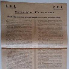 Carteles: AÑO 1936 * CARTEL UGT Y CNT * BASES DE TRABAJO DE LOS PORTEROS DE EDIFICIOS . Lote 58107125