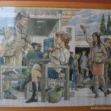 Carteles: IMPRESIONANTE ANTIGUO POSTER CARTEL MURAL LAMINA CON DIBUJOS COMICS ACADEMIA INGLES – UNICO RARO . Lote 58392414