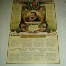 Carteles: CARTEL GRABADOS LITOGRAFIADOS HOMENAJE A EL QUIJOTE 8 DE MAYO 1905. REINADO DE S.M. ALFONSOXIII. Lote 224586597