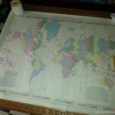 Carteles: GRAN MAPA CARTA DEL GLOBO TERRAQUEO CON HUSOS HORARIOS 115 X 86 CM PRIMERA EDICION JUNIO 1981 CADIZ. Lote 60982411