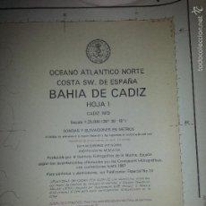 Carteles: GRAN MAPA BAHIA DE CADIZ - CADIZ 1973 - 115 X 86 CM - HOJA 1. Lote 60985551