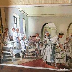 Carteles: LÁMINA DE COLEGIO FRANCESA HOSPITAL/ RECOLECCIÓN SETAS. Lote 63004436