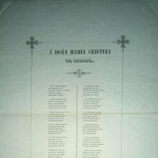 Carteles: JOSE MARIA HUICI COMPOSICION POETICA A DOÑA MARIA CRISTINA DE BORBON ZARAGOZA 1844 BORJA. Lote 68412469