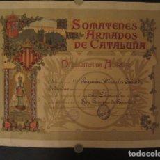 Carteles: SOMATENES ARMADOS DE CATALUÑA -DIPLOMA DE HONOR - AÑO 1922 - 37X49 CM-VER FOTOS. Lote 69110153