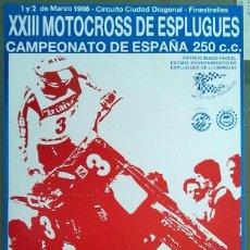 Carteles: XIII MOTOCROSS DE ESPLUGUES CAMPEONATO DE ESPAÑA 250 CC 1986 34 X 55 CM (APROX). Lote 70009669