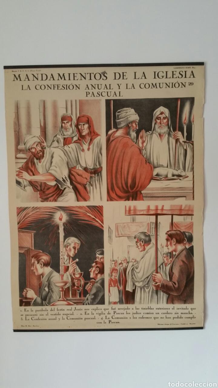 Carteles: ANTIGUA LÁMINA MURAL CARTEL COLEGIO CATECISMO LAMBERTO FONT. Hijos M. Blasi Barcelona 29/30 Religión - Foto 2 - 76454910