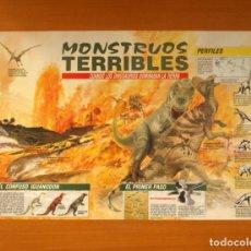 Carteles: MONSTRUOS TERRIBLES - CUANDO LOS DINOSAURIOS DOMINABAN LA TIERRA - QUEST - PÓSTER TAMAÑO 58X41. Lote 82470632