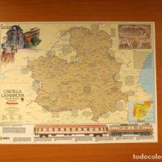 Carteles: CASTILLA LA MANCHA - ATLAS DE ESPAÑA - PANORAMA - RENFE - PÓSTER TAMAÑO 63X48 . Lote 82473504