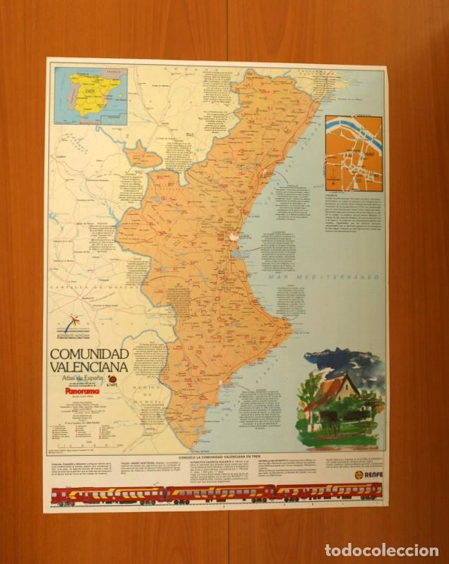 COMUNIDAD VALENCIANA - ATLAS DE ESPAÑA - PANORAMA - RENFE - PÓSTER TAMAÑO 63X48 (Coleccionismo - Carteles Gran Formato - Carteles Varios)