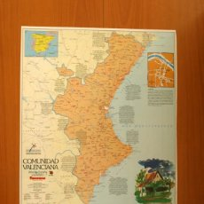 Carteles: COMUNIDAD VALENCIANA - ATLAS DE ESPAÑA - PANORAMA - RENFE - PÓSTER TAMAÑO 63X48 . Lote 82473816