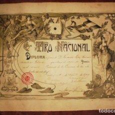 Carteles: CARTEL. 1909. CADIZ. DIPLOMA POR TIRO NACIONAL. 39 X 54 CM.. Lote 84902528