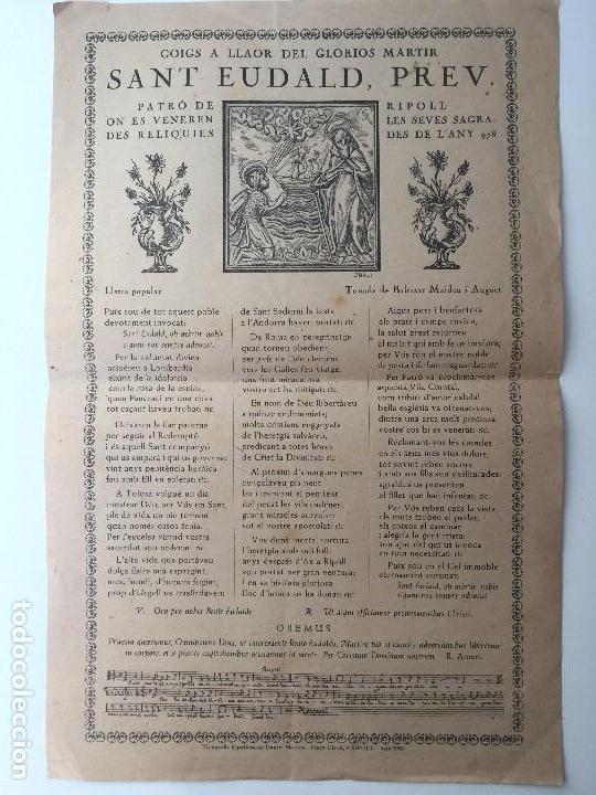 GOIGS A LLAOR DEL GLORIOS MARTIR SANT EUDALD, PREV. (RIPOLL) 1936 (LLETRA POPULAR) (Coleccionismo - Carteles Gran Formato - Carteles Varios)