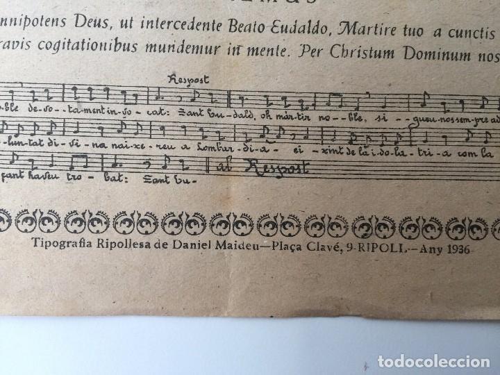 Carteles: GOIGS A LLAOR DEL GLORIOS MARTIR SANT EUDALD, PREV. (RIPOLL) 1936 (LLETRA POPULAR) - Foto 5 - 87002540