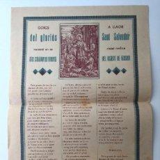 Carteles: GOIGS A LLAOR DEL GLORIÓS SANT SALVADOR. STA COLOMA DE FARNES DEL BISBAT DE GIRONA. . Lote 87004068