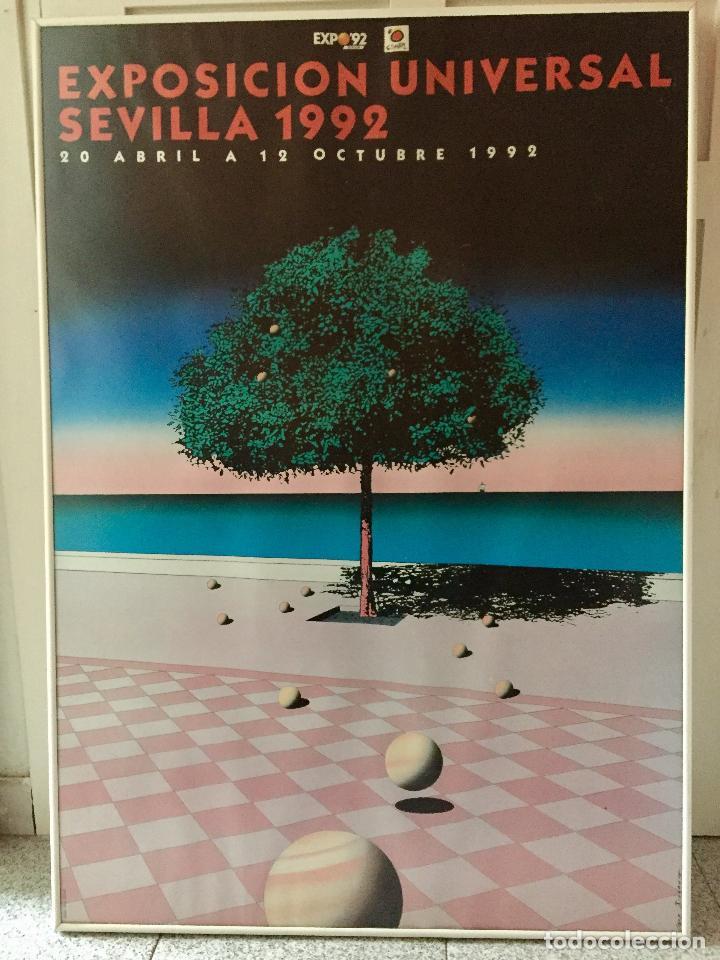 CARTEL GRAN FORMATO EXPOSICION UNIVERSAL 1992 SEVILLA EXPO 92 DISEÑO GUY BILLOUT 100 X 70 ENMARCADO (Coleccionismo - Carteles Gran Formato - Carteles Varios)