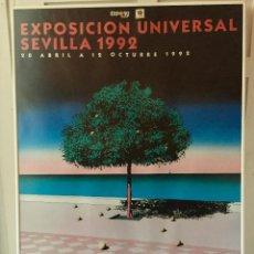 Carteles: CARTEL GRAN FORMATO EXPOSICION UNIVERSAL 1992 SEVILLA EXPO 92 DISEÑO GUY BILLOUT 100 X 70 ENMARCADO. Lote 87457328