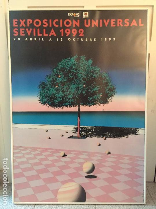 Carteles: CARTEL GRAN FORMATO EXPOSICION UNIVERSAL 1992 SEVILLA EXPO 92 DISEÑO GUY BILLOUT 100 x 70 ENMARCADO - Foto 3 - 87457328