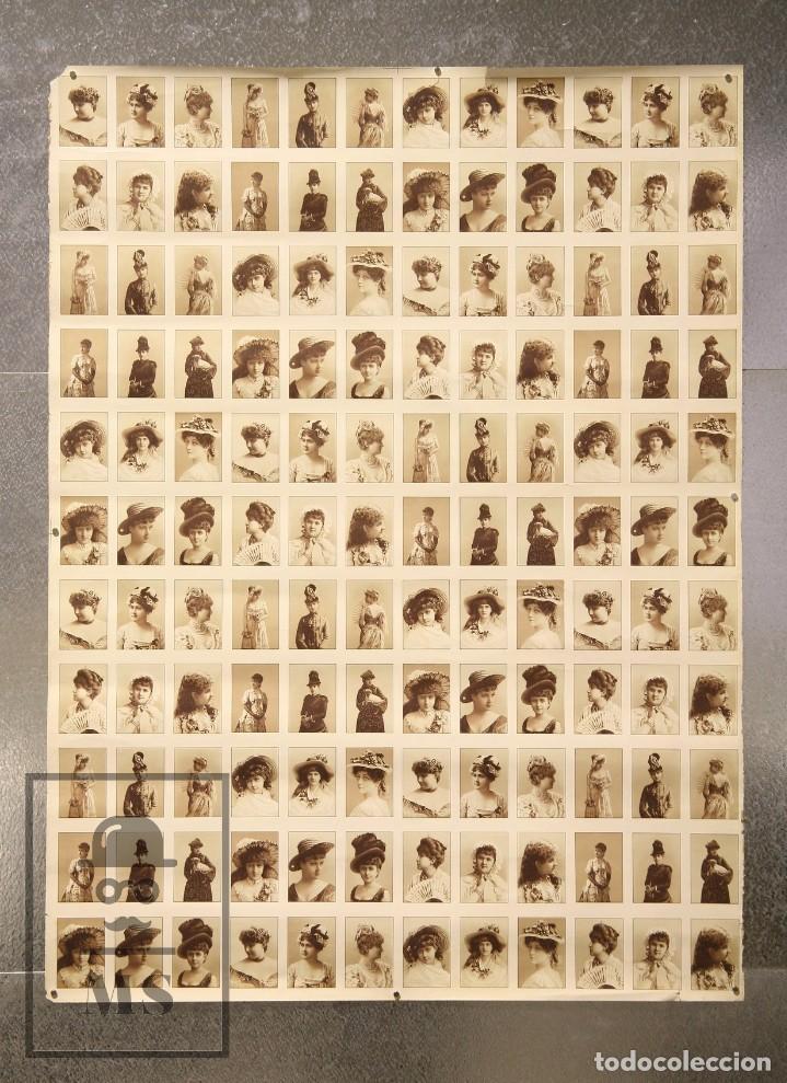 32a48d03d5e55 Antiguo Cartel   Lámina de Cromos - Mujeres Finales Siglo XIX con Sombreros  y Tocados de Época