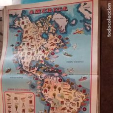 Carteles: 45 X 29 CM GRAN LAMINA EDUCATIVA - CARTEL / POSTER AÑOS 80 - MAPA ECONOMICO DE AMERICA. Lote 161480486