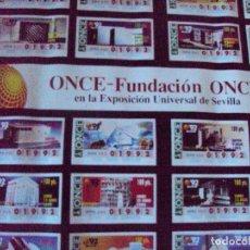 Carteles: PÓSTER DE LA ONCE - CUPONES PABELLONES EN EXPO92 SEVILLA - EXPOSICIÓN UNIVERSAL 1992 . Lote 90211616