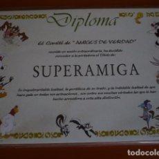 Carteles: DIPLOMA DIVERTIDO PARA LA MEJOR AMIGA- PARA REGALAR-. Lote 91459865