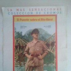 Carteles: ANTIGUO CARTEL POSTER QUE ANUNCIABA LA COLECCION CROMOS EL PUENTE SOBRE EL RIO KWAI - FHER 1958. Lote 92249505