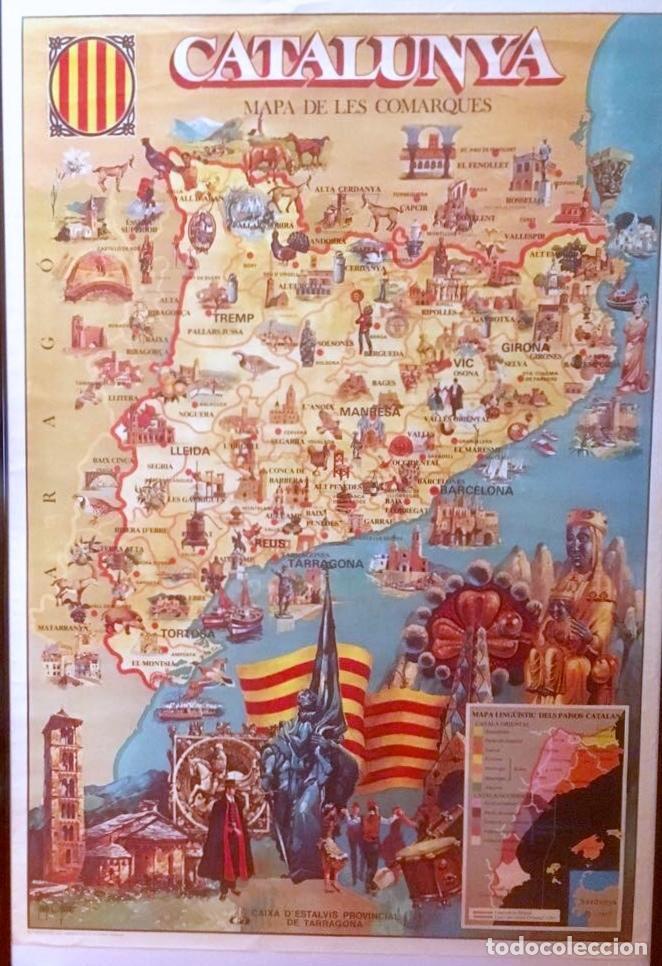 POSTER CARTEL CATALUNYA MAPA DE LES COMARQUES. 58 X 85 CM. AÑOS 70. (Coleccionismo - Carteles Gran Formato - Carteles Varios)