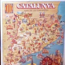 Carteles: POSTER CARTEL CATALUNYA MAPA DE LES COMARQUES. 58 X 85 CM. AÑOS 70. . Lote 151913468
