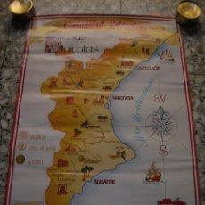 Carteles: CARTEL ZONAS VINÍCOLAS DE LA COMUNIDAD VALENCIANA. MIDE 42 X 60 CM.. Lote 98087587