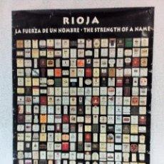 Carteles: ETIQUETAS DE VINO DE RIOJA. ESPECTACULAR CARTEL 68X98. Lote 210772214
