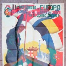 Carteles: BILLAR, CAMPEONATO DE EUROPA A LA BANDA, 1951. CENTRO ARAGONÉS, BARCELONA. 98X69 CM.. Lote 101448583