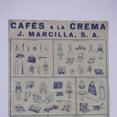 Affissi: CARTEL CAFÉS A LA CREMA, J. MARCILLA, S.A. 43X31CM. Lote 101614743