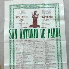 Carteles: SOLEMNE NOVENA AL SANTO DOCTOR SAN ANTONIO DE PADUA, IGLESIA DE POBRES CAPUCHINOS DE CÓRDOBA 1961. Lote 102271791