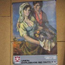 Carteles: ANTIGUO CALENDARIO DEL AÑO 1975 - TAMAÑO 51 X 96 CM - UNION EXPLOSIVOS RIO TINTO -. Lote 104266359