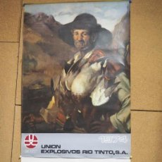 Carteles: ANTIGUO CALENDARIO DEL AÑO 1974 - TAMAÑO 51 X 96 CM - UNION EXPLOSIVOS RIO TINTO - CAZA. Lote 104266791