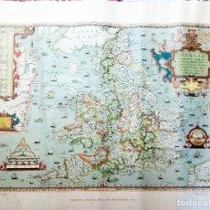 Carteles: MAPA DE SAXTON`S MAPA OF INGLAND AND WALES 1579 DEL BRITISH MUSSEUM IMPRESO EN 1971 62X50 CMS. Lote 108102235